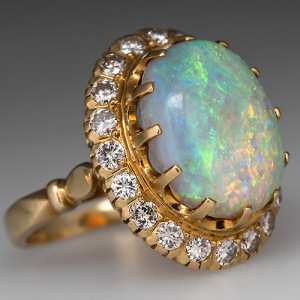 Capture the Essence! of Opal Legends with this Gorgeous Vintage Crystal Opal Cocktail Ring. Photo ©2014 EraGem Jewelry.