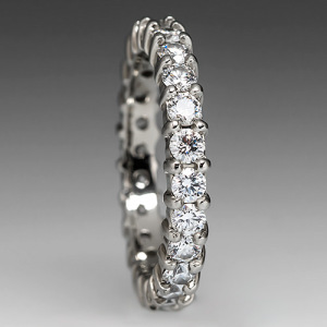 Capture the Essence! of Jennifer Garner's Engagement Ring with this VS Diamond Eternity Band in 18k White Gold. Photo ©2014 EraGem Jewelry.