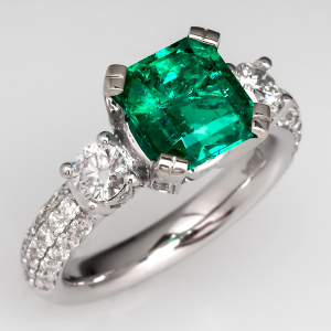 Capture the Essence! of Zoe Saldana's engagement ring with this 2-Carat Emerald Engagement Ring with Diamond Accents. Photo ©2014 EraGem Jewelry.