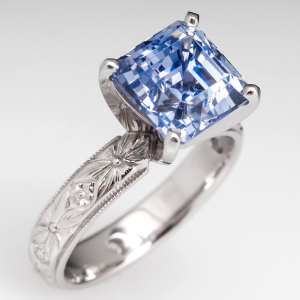 Capture the Essence! of Camila Alves' Engagement Ring with this Ethereal 5.5-Carat Asscher Cut Light Blue Sapphire Engagement Ring. Photo ©2014 EraGem Jewelry.