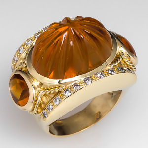 Capture the Warmth! of November's Birthstone Citrine with this Hand-Carved Citrine and Diamond Cocktail Ring. Photo ©2014 EraGem Jewelry.