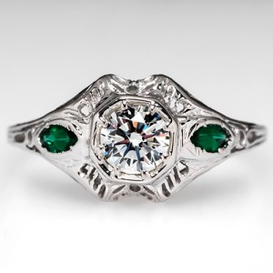 Capture the Essence! of Olivia Wilde's Vintage 1920s engagement ring with this Vintage Diamond Engagement Ring with Authentic Art Deco green glass accents. Photo ©2014 EraGem Jewelry.