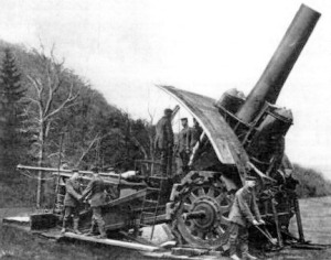 Big Bertha in action. This was one of Krupp's first large cannons. Photo credit.