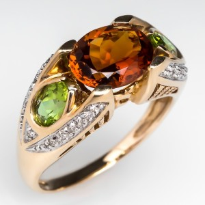 Capture the Essence! of Orange with this Citrine & Peridot Ring in 14k Gold.