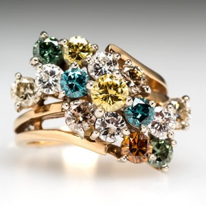 Capture the Essence! of Orange Diamonds with this Colored Diamond Cocktail Cluster Ring with Orange Diamonds. Photo ©2015 EraGem Jewelry.
