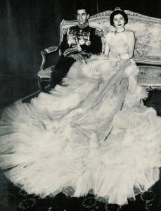Shah Reza Pahlavi and Princess Soraya on their wedding day in 1951.