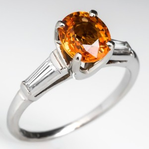 Capture the Essence! of Orange-Colored Gemstones with this Vintage Natural Vivid Orange Sapphire Engagement Ring. Photo ©2015 EraGem Jewelry.