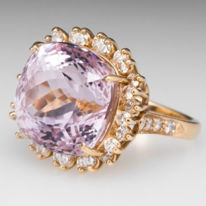 In 1989 Tiffany & Co. donated the gorgeous Picasso Kunzite Necklace made by Paloma Picasso. This gorgeous 22.96-carat cushion-cut pink kunzite cocktail demonstrates the luminous quality of kunzite. Photo ©2015 EraGem Jewelry.