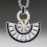 Diamond & Sapphire Fan Pendant