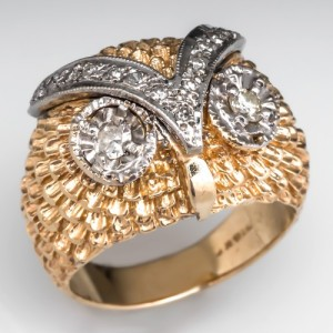 Capture the Essence! of Holly Madison's EDC engagement ring with this Vintage Diamond Owl Cocktail Ring. The Night Owl is the mascot of Electric Daisy Carnival, over which Holly Madison reigns as Queen Supreme. Photo ©2015 EraGem Jewelry.