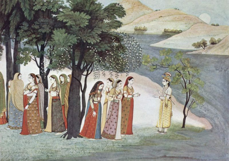 Krishna with the gopis. A scene from the Bhâgavata-Purâna-Manuskript. It is possible that the tree in the background might represent one of Krishna's pearl trees.