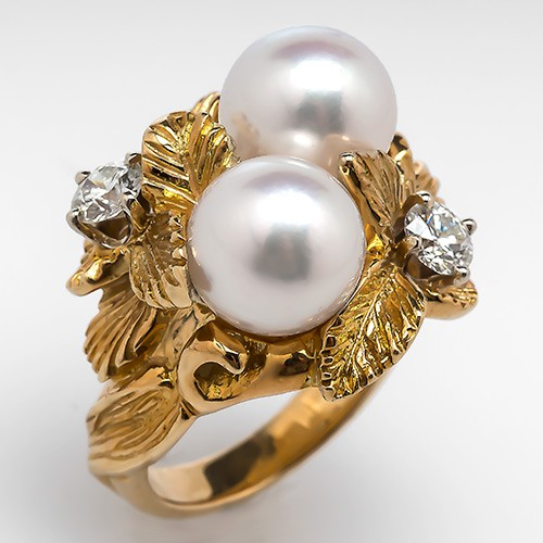Vintage Twin Pearl and Diamond Cocktail Ring