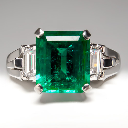 Genuine Emerald Engagement Rings