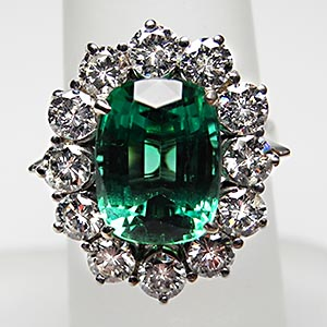 vintage-cocktail-ring-tourmaline-diamond-18k-gold