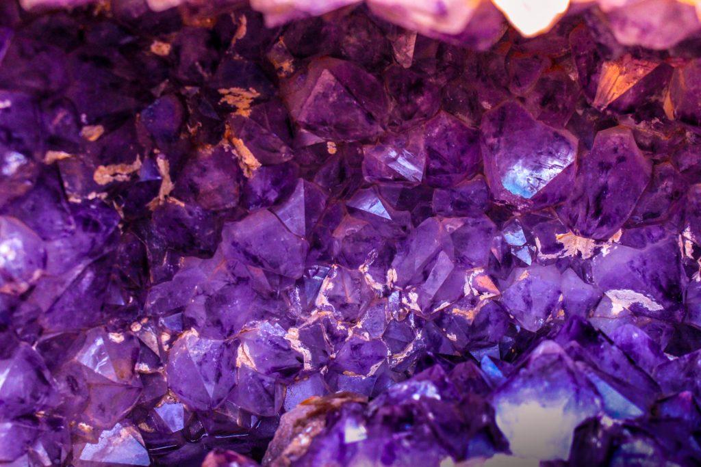 Closeup amethyst geode.
